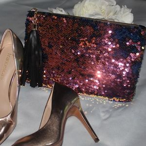 Handbags - Blue and rose Gold Sequin Clutch
